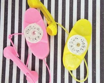 Vintage Princess Phones (2), Miniature Phone, Dollhouse Telephone, Plastic Doll Accessory, 1960s - 1970s Toy Phone
