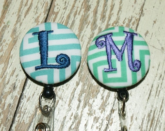 Many fabrics to design YOUR Badge Reel. Monogrammed single letter,  graphic turg and jade