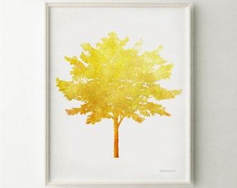 Yellow Tree wall art Yellow print, Tree printable women gift, Downloadable print Diy gift, Tree decor Yellow wall art Nature inspired art
