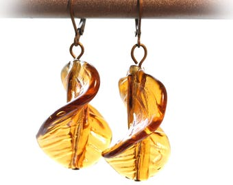 Earrings with twisted Murano glass beads