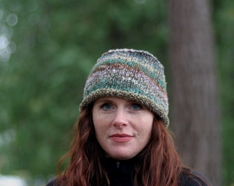 Silk/Wool Blend Hand-Knit Hat in Earth Tones