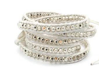 Wrap Bracelet  White leather Silver Beads