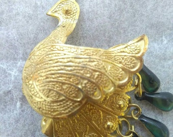 Old vintage antique Peacock brooch, Peacock brooch