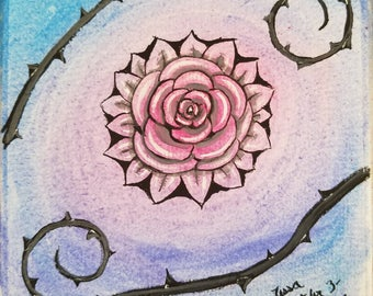 Rose original watercolors painting on acid free paper 6x6 inches