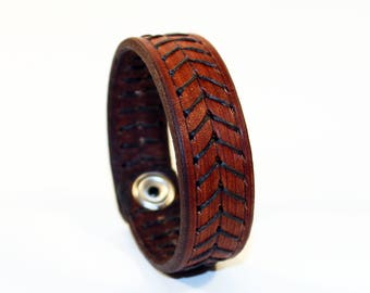 Brown Leather Cuff Bracelet! Leather bracelet! Nice gift for women!Nice gift for men! Brown wrist cuff!Bracelet wof women!Bracelet for men.