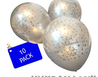 Premium Eid Mubarak Balloons (10 Silver Balloons in a pack) - Eid Decoration Party Supplies