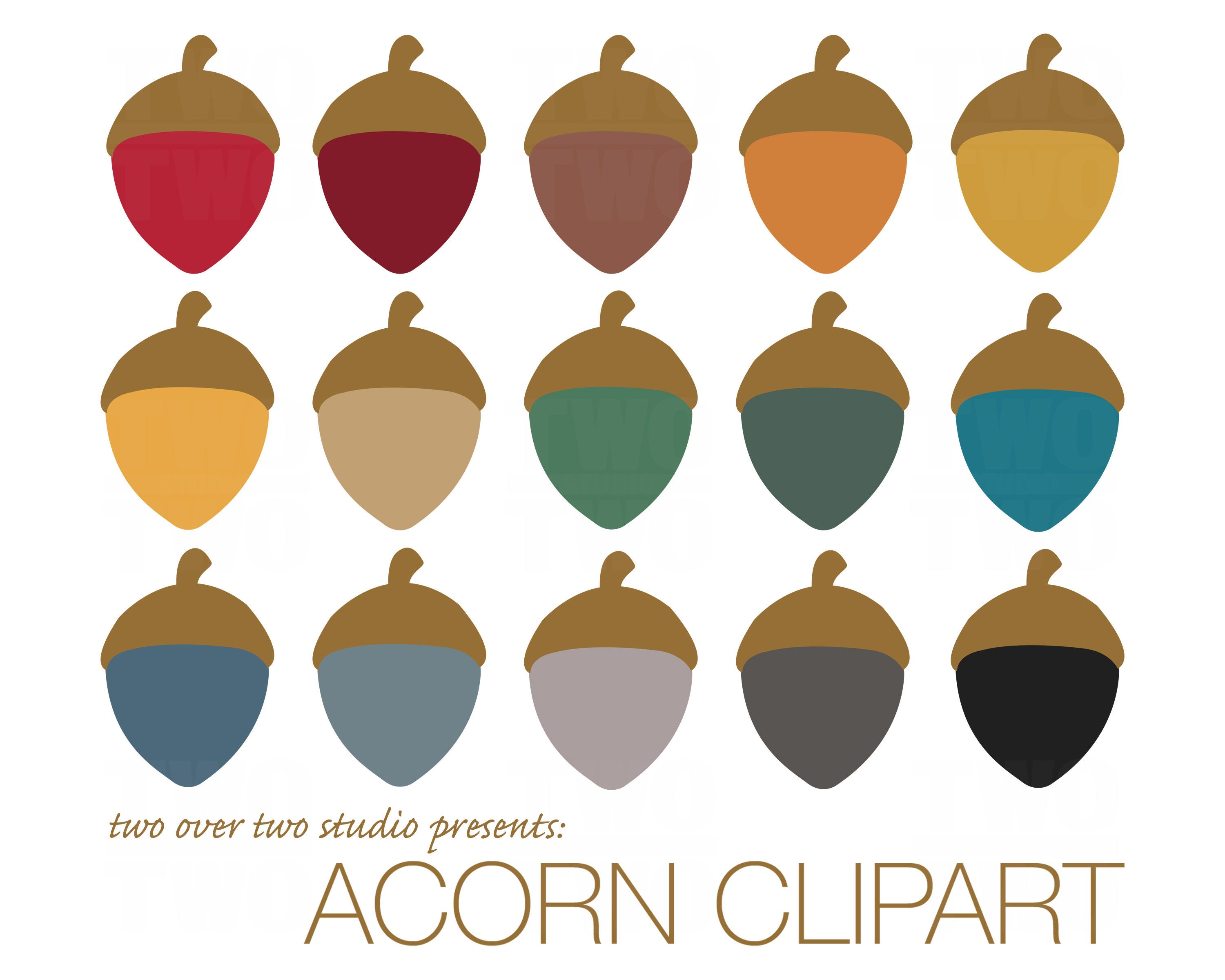 Acorn Clipart Fall Clip Art Autumn Instant Download in Fall