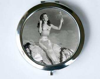50s pinup Mermaid Compact MIRROR Pocket Mirror retro rockabilly