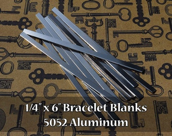 25 - 5052 Aluminum 1/4 in. x 6 in. Bracelet Cuff Blanks - Polished Metal Stamping Blanks - 14G 5052 Aluminum - Flat