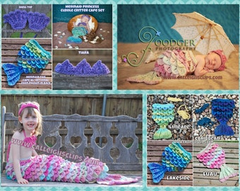 Instant Download Crochet Pattern- No. 59 Mermaid Princess Cape Set - Nb - 4+ years