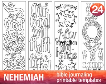NEHEMIAH - 4 Bible journaling printable templates, illustrated christian faith bookmarks, black and white bible verse prayer journal