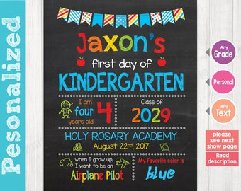 First Day of School Sign, First Day of School Chalkboard Sign Printable, 1st day of kindergarten sign, Preschool Grade DESIGN - 003 Medium