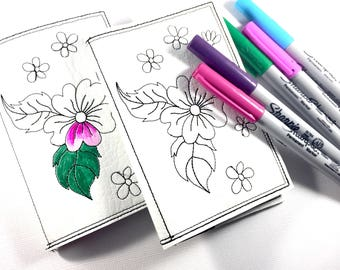 Blank Book-teacher gifts-Color it yourself-mini journal-notebook-traveling with kids-quiet books-customized mini notebook cover and journal