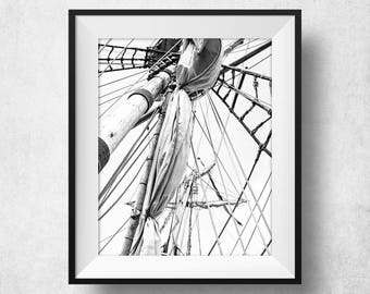 Sailing Gift, Sailing Decor, Sailing Print, Sailing Ship, Poster, Black And White, Printable, Modern, Large, File, 16x20, 24x36, Art Print
