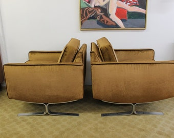 Mid Century Modern pair of club chairs, chocolate velvet and silver legs