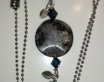 Long necklace, obsidian and steel