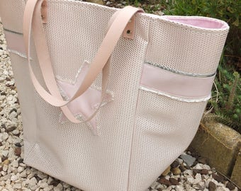 Faux - leather and rose tote bag.