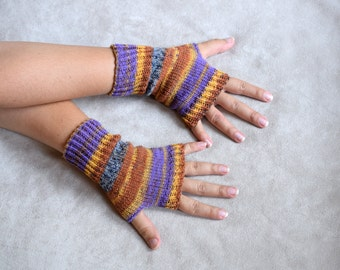 Thin wool wrist warmers, knit fingerless gloves, office gloves, thin mittens, snug driving gloves, bicycle gloves, striped wristwarmers