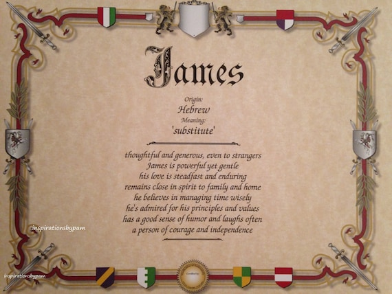 James First Name Meaning Art Print-Name Meaning