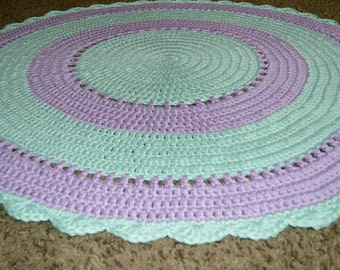 Crochet Nursery Rug, Playroom Rug, Area Rug, Nursery Decor, Mermaid Nursery Doily Rug, Round Rug, Lavender Mint, Photo Prop