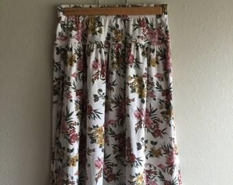 Vintage Floral Midi Skirt