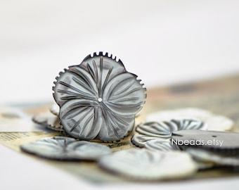 Black Mother of Pearl Shell Carved Flower 30mm Large, Center Drilled Hole -(V1209)/ 10pcs