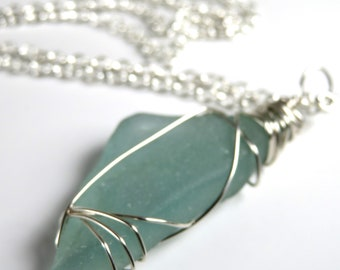 Beach Glass, Sterling Silver  Necklace