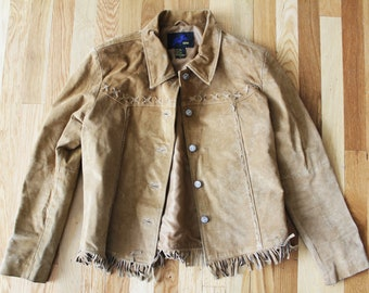 Tan Suede Fringe Western Cut Jacket