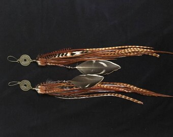 Feather earings: Dragon Coin, top furnace and brown with feather dangle.