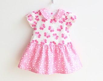 FLY AWAY Girl Baby Girl Dress sewing pattern Pdf, Peter Pan collar, Flower Girl dress, Baptism dress, toddler dress newborn up to 6 years