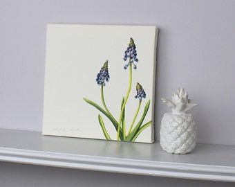 Floral art-Grape Hyacinth print-canvas print-botanical canvas-art for bedroom-gift for mum-gift for girl-garden art print-gift for gardener