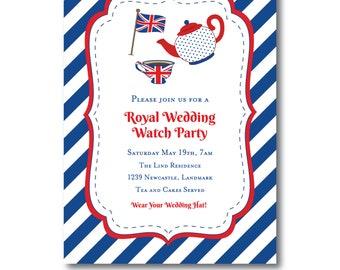 Royal Wedding British Tea Party Invitation, British Tea Invite, Royal Wedding Watch Party Invitation, Union Jack Tea Party Invite, Templett