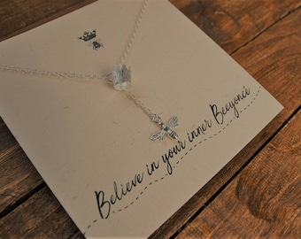Sterling Silver Bee Necklace with silver crown //Silver bee//bee jewellery//Believe In Your Inner Beeyonce//Queen Bee
