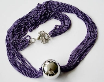 Silver ball - multiple chains - purple necklace