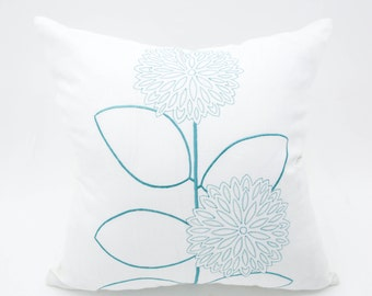 Flower Stems Pillow Cover, White Linen Teal Flower Embroidery, Floral Throw Pillow, Modern Contemporary Pillow, Flower Cushion Cover