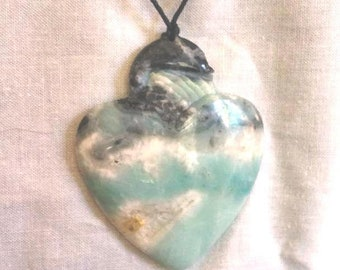 Carved Amazonite Heart Pendant/Focal