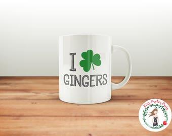I Heart Gingers Coffee Mug, St. Patrick's Day Mug, I Heart Gingers, Ginger Mug, Funny Coffee Mug, Funny Gift, Coffee Mug, Cheeky Mug, Ginger