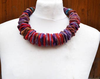 Felted necklace, fibre art, gift, felted slices