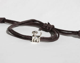 Tiny Dog bracelet with brown knotted cord