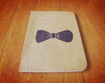 Doctor Who Bow Tie Notebook, Pocket Journal, Original Handmade Mini Diary and Jotter, Stamp Illustration