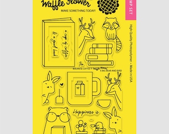 Waffle Flower BOOKS & COFFEE 4x6 - Set of 20 CLEAR Photopolymer stamps #271132