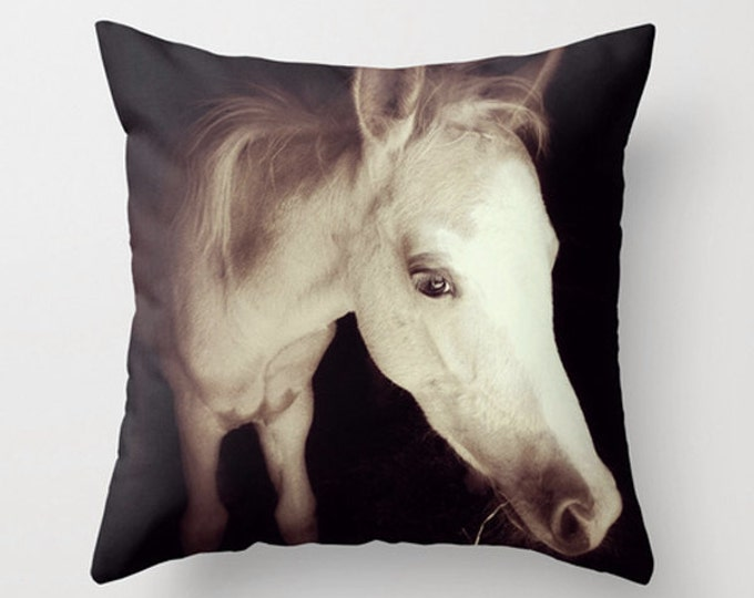 Newborn Colt Sofa Pillow, Animal Accent Pillow, Neutral Throw Pillow Cover, Horse 18x18 24x24 Decorative Pillow Cushion