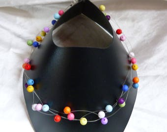 VERY COLORFUL BEAD NECKLACE AIRY AND LIGHTWEIGHT