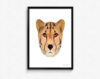Geometric cheetah poster - colorful wall art - choose between either A4 or A3 size