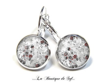 925 Sterling Silver: Stud Earrings with glass cabochons * flowers * (140218) 3 sizes