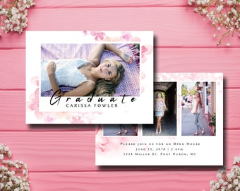 Senior Card Template, Grad, Open House, Graduation Announcement, Photographer Template, 2018