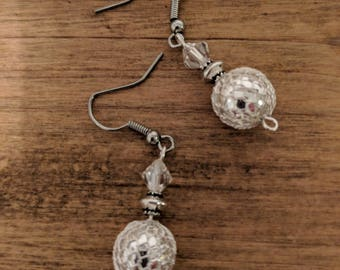 Sparkly silver and crystal dangle earrings