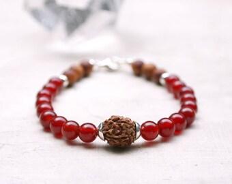 Carnelian mala bracelet Yoga meditation beads sacral chakra mala 18 carnelian bracelet beads mala rudraksha wrist mala  with sterling clasp