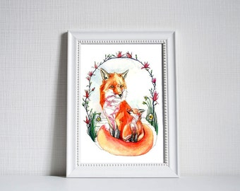 A3 Red Foxes Print