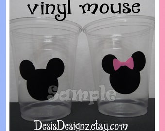 24 Gender reveal mouse vinyl decals Baby shower Birthday party decorations girl boy sprinkle party vinyl party cup stickers cup labels vynil